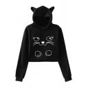 Black Cat Face Pattern Raglan Sleeve Cropped Loose Fit Hoodie
