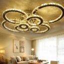 Bubble Rings Semi Flush Ceiling Light Modern Inserted Crystal Living Room LED Flushmount in Stainless Steel