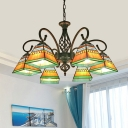 Dining Room Chandelier Mission Style Ceiling Pendant with Pyramid Stained Glass Shade