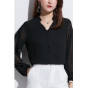 Trendy Ladies Blouse Plain Blouson Sleeve Stand Collar Button Up Regular Fit Blouse Top in Black