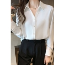 Elegant Ladies Shirt Long Sleeve Spread Collar Button Up Loose Fit Shirt Top in White