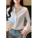 Stylish Womens Shirt Solid Color Long Sleeve Spread Collar Button Up Regular Shirt Top