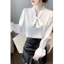 Elegant Ladies Plain Blouse Bell Sleeve Lace Trim Bow Tied Neck Relaxed Chiffon Blouse Top in White