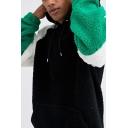 Leisure Men's Hoodie Color Block Contrast Panel Kangaroo Pocket Long Sleeves Drawstring Hooded Sweatshirt