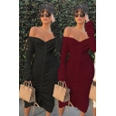 Fancy Women's Sweater Dress Plain Ruched Detail off the Shoulder Long Flare Cuff Sleeves Midi Sweater Dress