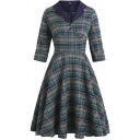 Trendy Girls Green Dress Plaid Printed Roll Up Sleeve Notched Collar Button Detail Mid Pleated A-line Dress