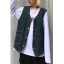 Classic V-Neck Sleeveless Button Down Faded Wash Denim Vest with Pockets