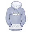 Popular Fashion Cartoon Totoro Pattern Long Sleeve Loose Fit Unisex Gray Hoodie with Pocket