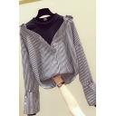 Leisure Women's Shirt Patchwork Stripe Pattern Faux Twinset Mock Neck Long Sleeves Regular Fitted Shirt