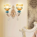 Ombre Glass Wall Mount Lamp Vintage Gold Flower Bedroom Sconce Wall Lighting with Crystal Decor