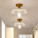 1 Head Small Semi Flush Mount Industrial Gold Metal Ceiling Light Fixture with Glass Shade