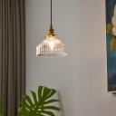 Barn Shaped Dining Room Down Mini Pendant Loft Clear Rib Glass Brass Hanging Light
