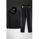 Sports Boys Set Stripe Print Long Sleeve Stand Collar Zipper Front Relaxed Jacket & Straight Pants Set