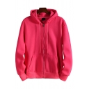 Leisure Hoodie Plain Long Sleeve Hooded Zipper Front Relaxed Fitted Hoodie for Men