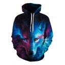 Elegant Men's Hoodie Galaxy Wolf 3D Pattern Long Sleeve Drawstring Hooded Sweatshirt