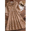 Fancy Girls Dress Ditsy Flower Long Sleeve Bow-tied Neck Button Up Mid A-line Dress in Khaki