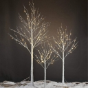 White Birch Night Table Light Decorative LED Plastic Nightstand Light with USB Charging Cord