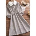 Stylish Dress Long Sleeve Fuzzy Collar Button Up Mid A-line Wool Dress in Apricot