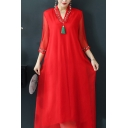 Elegant Women's Swing Dress Solid Color Floral Embroidered Fully Lined V Neck 3/4 Sleeves Midi Swing Dress
