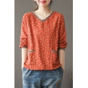 Casual Womens T Shirt Linen and Cotton Ditsy Floral Print Long Sleeve V-neck Loose Fit T Shirt