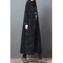 Vintage Ladies Coat Corduroy Long Sleeve Button Up Tunic Loose Fit Coat in Black