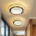 Circular Corridor Flush Mount Ceiling Light Beveled Cut Crystal Modern LED Flush Light in Stainless Steel