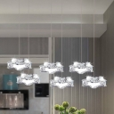 Beveled Cut Crystal Star Multi-Pendant Simplicity Stainless Steel LED Hanging Light Fixture