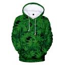 Stylish 3D Green Weed Pattern Long Sleeve Kangaroo Pocket Pullover Drawstring Hoodie