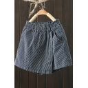 Chic Girls Culottes Stripe Print Elastic Waist Denim Panel Culottes