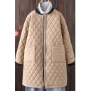 Trendy Womens Coat Quilted Long Sleeve Zipper Front Contrasted Tunic Relaxed Coat