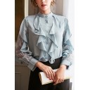 Stylish Ladies Shirt Solid Color Sheer Lace Panel Ruffled Long Sleeve Crew Neck Button Up Regular Fit Shirt Top in Light Blue