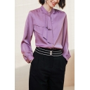 Formal Ladies Shirt Solid Color Long Sleeve Collarless Button Up Tiered Loose Shirt in Purple