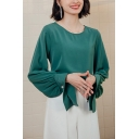 Fancy Womens Shirt Blouson Sleeve Round Neck Ruched Relaxed Fit Plain Shirt in Green