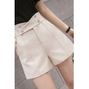 Formal Ladies Shorts Plain Metal Button High Waist Straight Shorts