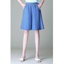 Simple Girls Shorts Solid Color Elastic Waist Wide-leg Tencel Shorts