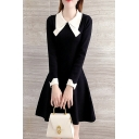 Pretty Womens Dress Contrasted Long Sleeve Point Collar Short A-line Dress in Black