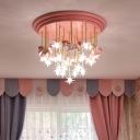 Carousel and Star LED Flush Light Kids Clear Glass Pink Semi Flush Mount Ceiling Light for Bedroom
