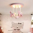 Carousel Childrens Bedroom Ceiling Lighting Resin 11-Light Cartoon Semi Flush Light