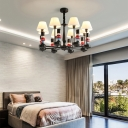 Soldier Boys Bedroom Ceiling Chandelier Resin Kids Style Hanging Light in Black with Fabric Shade