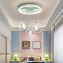 Resin Astronaut LED Multi Pendant Ceiling Light Kids 7-Light Light Blue Suspension Lamp with Metal Ring