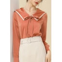 Stylish Womens Shirt Long Sleeve Sailor Collar Bow-tied Front Contrasted Relaxed Shirt