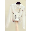 Elegant Women's Shirt Floral Pattern Button-down Point Collar Long Sleeves Regular Fitted Shirt