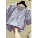 Trendy Women's Shirt Blouse Floral Embroidered Hollow out Detail Short Puff Sleeves Relaxed Fit Shirt Blouse