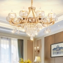 Clear Lattice Glass Bowl Chandelier Traditional Lounge Ceiling Hang Light in Gold with K9 Crystals