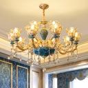 Blossom Living Room Chandelier Vintage Transparent Glass Golden Hanging Lamp with Decorative Crystal