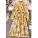 Unique Women's Blouse Dress Floral Print Mock Neck Long Flare Cuff Sleeve Button Detail Waist Banded Long Blouse Dress