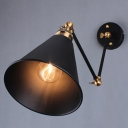 1-Light Wall Light Fixture Vintage Umbrella Metallic Wall Mounted Lamp in Black for Restaurant