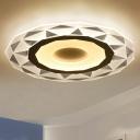 Diamond-Cut Ultrathin Flush Light Fixture Modern Acrylic Clear LED Flushmount Ceiling Lamp