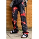 Mens Pants Creative Lightning Pattern Loose Fitted Long Straight Relaxed Pants with Pockets