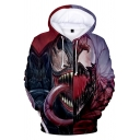Cool Black and Red 3D Printing Long Sleeve Casual Sport Pullover Hoodie